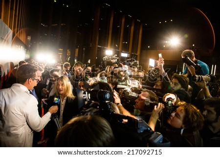 """MOSCOW, RUSSIA, September, 10: Actor Pierce Brosnan. Premiere of the movie """"THE NOVEMBER MAN"""", September, 10, 2014 at Barvikha Luxury Village in Moscow, Russia - stock photo"""