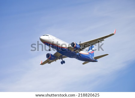 MOSCOW, RUSSIA - SEPTEMBER 20, 2014: Aeroflot Airbus A320 arrives to the Sheremetyevo International Airport.  - stock photo