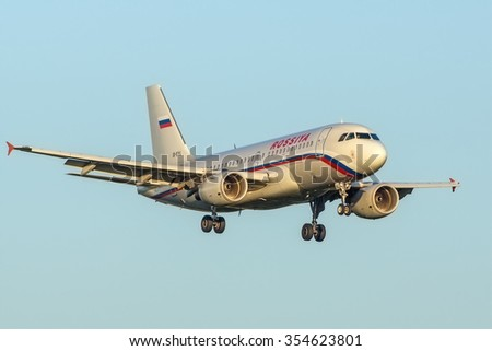 Moscow, Russia - September 05, 2014: Airbus A319 Rossiya EI-EYL landing at the Vnukovo International airport