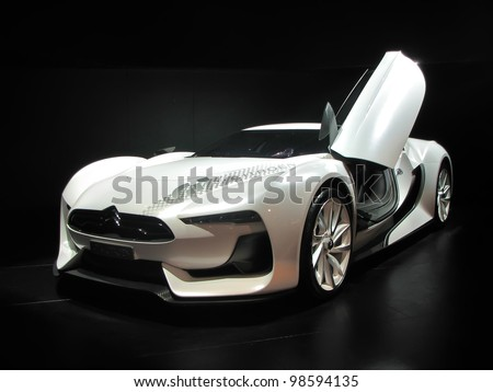MOSCOW, RUSSIA - SEPTEMBER 1: Concept car Citroen GT on display at the Moscow International Autosalon on September 1, 2010 in Moscow, Russia. - stock photo
