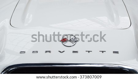 MOSCOW, RUSSIA, SEPTEMBER 11, 2015. Corvette logo on the hood  - stock photo