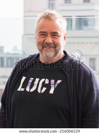 "MOSCOW, RUSSIA, SEPTEMBER, 9: Director Luc Besson. Premiere of the movie ""Lucy"", September,9, 2014 at RITZ HOTEL in Moscow, Russia - stock photo"