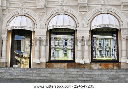 MOSCOW, RUSSIA - SEPTEMBER 7: Facade of Giorgio Armani flagship store in Moscow on September 7, 2014. Armani is an Italian luxury fashion house founded by Giorgio Armani.  - stock photo