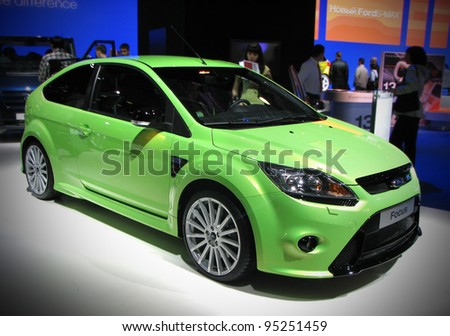 MOSCOW, RUSSIA - SEPTEMBER 1: Ford Focus RS presented at the Moscow International Autosalon on September 1, 2010 in Moscow, Russia. - stock photo