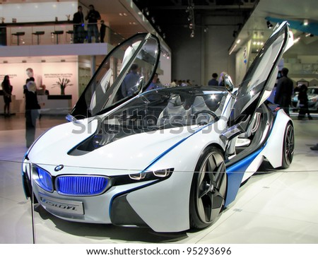 MOSCOW, RUSSIA - SEPTEMBER 1: Hybrid concept BMW Vision EfficientDynamics on display at the Moscow International Autosalon on September 1, 2010 in Moscow, Russia. - stock photo