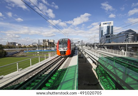 MOSCOW, RUSSIA - SEPTEMBER, 26 2016: Little Ring of the Moscow Railways- MCC,or MK MZD, is a 54.4-kilometre-long orbital railway.Russia. Opened 10 September 2016.