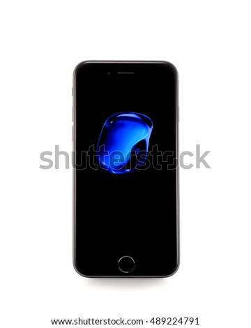 MOSCOW, RUSSIA - SEPTEMBER 25, 2016: New black iPhone 7 is a smartphone developed by Apple Inc. Apple releases the new iPhone 7 and iPhone 7 Plus