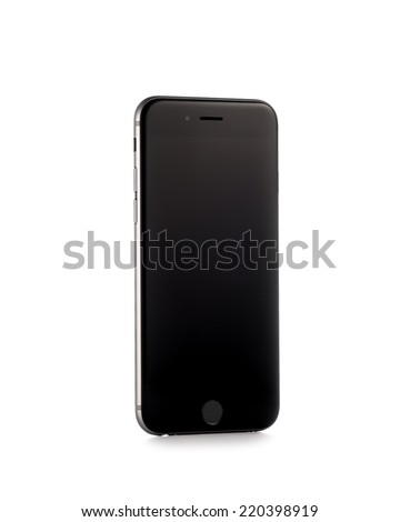 MOSCOW, RUSSIA - SEPTEMBER 29, 2014: New iPhone 6 is a smartphone developed by Apple Inc. Apple releases the new iPhone 6 and iPhone 6 Plus - stock photo