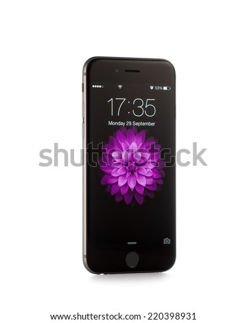 MOSCOW, RUSSIA - SEPTEMBER 29, 2014: New iPhone 6 is a smartphone developed by Apple Inc. Apple releases the new iPhone 6 and iPhone 6 Plus