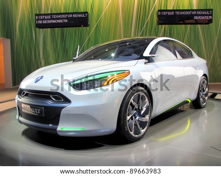 MOSCOW, RUSSIA - SEPTEMBER 1: Renault Fluence Z.E. presented at the Moscow International Autosalon on September 1, 2010 in Moscow. - stock photo