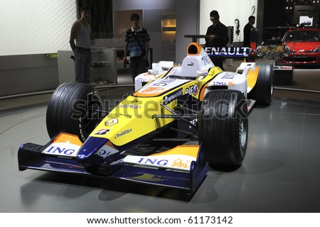 MOSCOW, RUSSIA - SEPTEMBER 2: Renault Formula1 car presented at the Moscow International Autosalon on September 2, 2008 in Moscow. - stock photo
