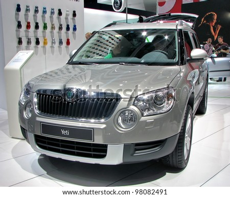 MOSCOW, RUSSIA - SEPTEMBER 1: Skoda Yeti on display at the Moscow International Autosalon on September 1, 2010 in Moscow, Russia. - stock photo