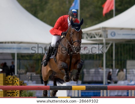 "MOSCOW, RUSSIA - SEPTEMBER 21, 2008: World Cup of riding competition ""Crystal Saddle"""