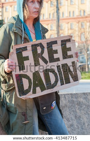 MOSCOW, RUSSIAN FEDERATION - APRIL 30: Picket. Woman with slogan. Evening, April 30, 2016, Lubyanka Square, Moscow, Russia . - stock photo