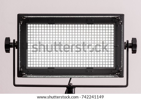 MOSCOW, RUSSIAN FEDERATION - CIRCA OCTOBER, 2017: Illuminator Falcon Eyes LG 500 LED V-mount for photo and video. The source of constant lighting.