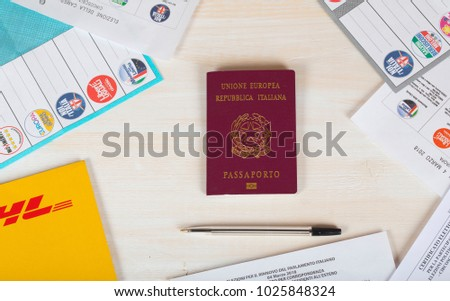 Moscow Russian Federation 02142018 Italian Passport Surrounded Stock