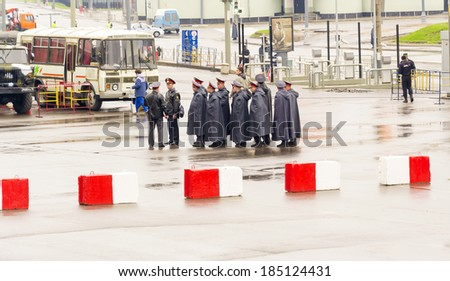 MOSCOW, RUSSIAN FEDERATION - MAY 4: A group of policemen on May 4, 2013 in Moscow, Russian Federation.  - stock photo