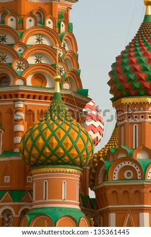 Moscow Saint Basil Cathedral kupola - stock photo