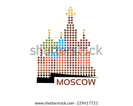 Moscow - Saint Basil's Cathedral dotted style illustration - stock photo