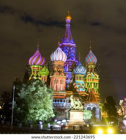 Moscow, Saint Basils Intercession cathedral illuminated at night. - stock photo