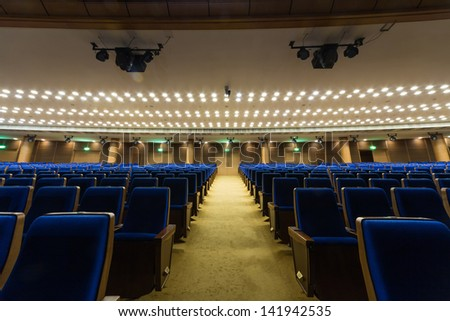 MOSCOW - SEP 27: Large hall for presentations at the Kremlin Palace (center view) on September 27, 2012 in Moscow, Russia.