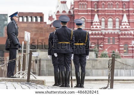 MOSCOW - SEPT 18: Soldiers at the Red Square in Moscow on September 18. 2016 in Russia