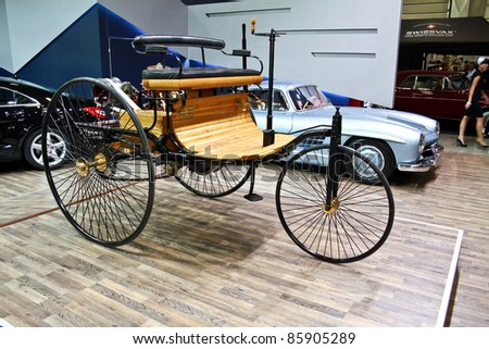 MOSCOW - SEPTEMBER 16: Benz Patent Motorwagen (or motorcar) 1886 at the international exhibition of the technical antiques on September 16, 2011 in Moscow, Russia - stock photo