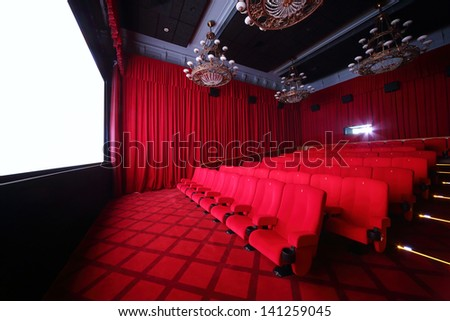 MOSCOW - SEPTEMBER 4: Big hall of cinema in GUM, on September 4, 2012 in Moscow, Russia. Comfortable big hall of cinema in GUM has 70 seats. - stock photo