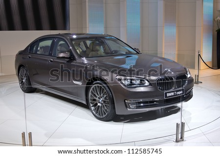 MOSCOW-SEPTEMBER 6: BMW 7 series at the Moscow International Automobile Salon on September 6,2012 in Moscow - stock photo