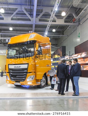 MOSCOW-SEPTEMBER 12,2013: Cars of the Dutch company DAF at the International Exhibition COMTRANS