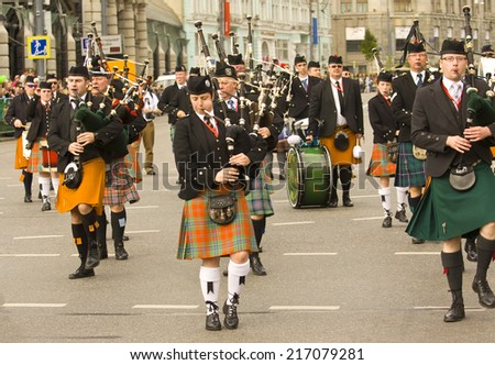 """MOSCOW - SEPTEMBER 06, 2014: international festival of military orchestra """"Spasskaya tower"""", orchestra of bagpipes and drums """"Joined by music"""", Ireland. - stock photo"""