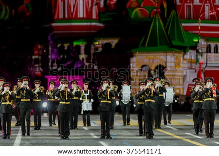 "MOSCOW - SEPTEMBER 10, 2015: international festival of military orchestra ""Spasskaya tower"", orchestra of Moscow military musical college by name of Suvorov, Russia."