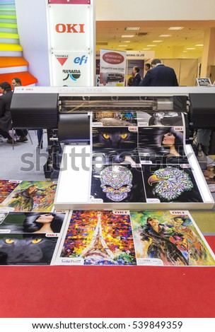 MOSCOW-SEPTEMBER 29, 2016: Large format printers Japanese company OKI at the International Trade Fair Advertising
