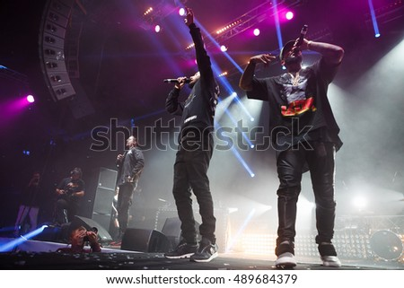 MOSCOW - 25 September, 2016 : Like FM Radio hosted Like Party event at Space Moscow nightclub. Black Star rapper Timati, Mot and Scrodgee singins on stage