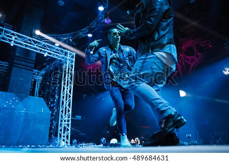 MOSCOW - 25 September, 2016 : Like FM Radio hosted Like Party event at Space Moscow nightclub. Popular Ukrainian dancers and singer Quest Pistols Show performing on stage