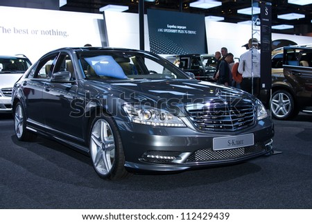 MOSCOW-SEPTEMBER 6: Mercedes Benz S 500 at the Moscow International Automobile Salon on September 6,2012 in Moscow