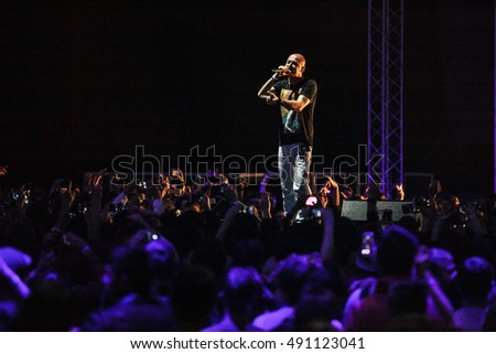 MOSCOW - 29 SEPTEMBER, 2016 : Reebok Hall Of Fame closed party at Tesla 4000 concert hall.Headliners: Russian rap performer Oxxxymiron and British hip hop star Little Simz. Miron Fedorov on stage