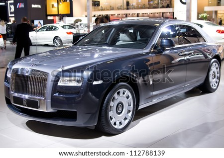 MOSCOW-SEPTEMBER 6: Rolls-Royce Ghost at the Moscow International Automobile Salon on September 6,2012 in Moscow
