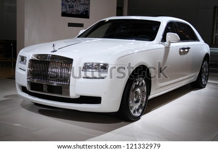 MOSCOW-SEPTEMBER 1: Rolls-Royce Ghost extended wheelbase at the international exhibition of  the automobile industry Moscow international automobile salon MIAS on September 1, 2012 in Moscow - stock photo