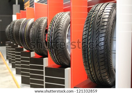 MOSCOW-SEPTEMBER 1: Stack of car tires continental at the international exhibition of  the automobile industry Moscow international automobile salon MIAS on September 1, 2012 in Moscow - stock photo