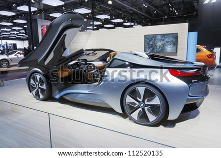 MOSCOW-SEPTEMBER 3:The European premiere of BMW i8 Concept Style Coupe with electric and petrol engines at the Moscow International Motor Show on September 3,2012 in Moscow - stock photo