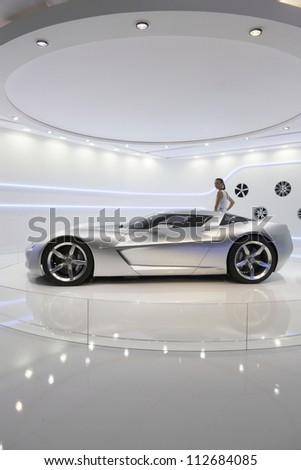 MOSCOW-SEPTEMBER 3:The European premiere of Chevrolet Stingray Concept at the Moscow International Motor Show on September 3,2012 in Moscow - stock photo