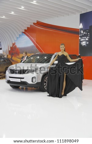 MOSCOW-SEPTEMBER 3: The European premiere of KIA SORENTO at the Moscow International Motor Show on September 3,2012 in Moscow