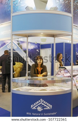 MOSCOW-SEPTEMBER 13:The stand American Company ALASKA SEAFOOD production and sale of seafood at International Food & Drinks Exhibition on September 13, 2011 in Moscow - stock photo