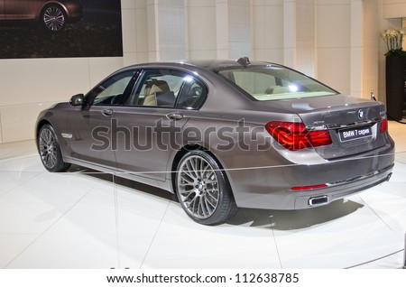 MOSCOW-SEPTEMBER 6: World premiere of BMW 7 series at the Moscow International Automobile Salon on September 6,2012 in Moscow - stock photo