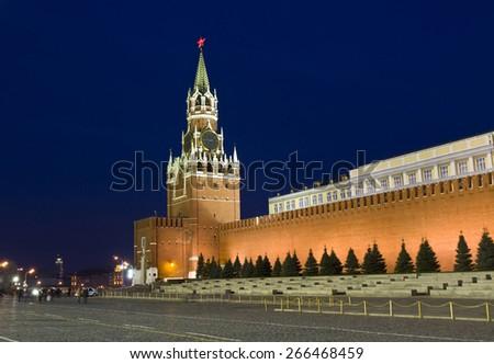 Moscow, Spasskaya tower of Kremlin at night. - stock photo