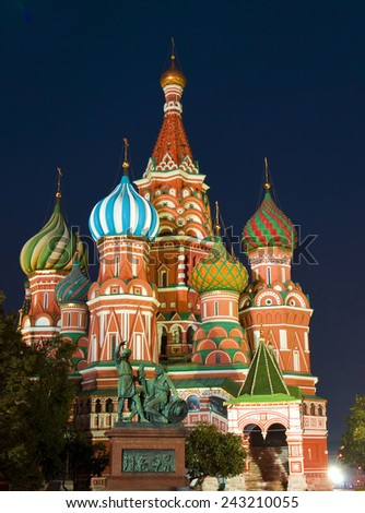 Moscow, St. Basil's Pokrovskiy (Intercession) cathedral on Red square at night.