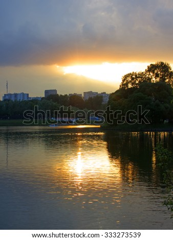 Moscow. Tsaritsyno, ponds in the park