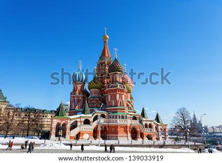 Moscow, Vasily Blazhenogo's temple in the winter - stock photo