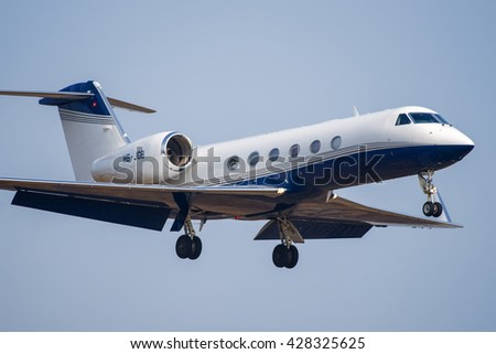 Moscow - Vnukovo, Russia - March 22, 2014: Gulfstream Aerospace G-IV-X Gulfstream G450 HB-JGB landing at the Vnukovo International airport.